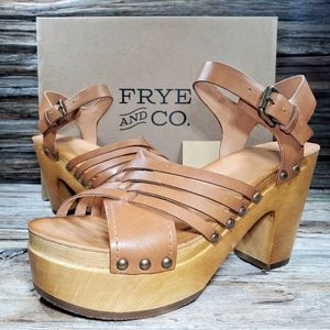 Frye Greta Woven Clogs Blclock Heeled Sandals